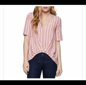 BCBGeneration pink and white striped crop tee